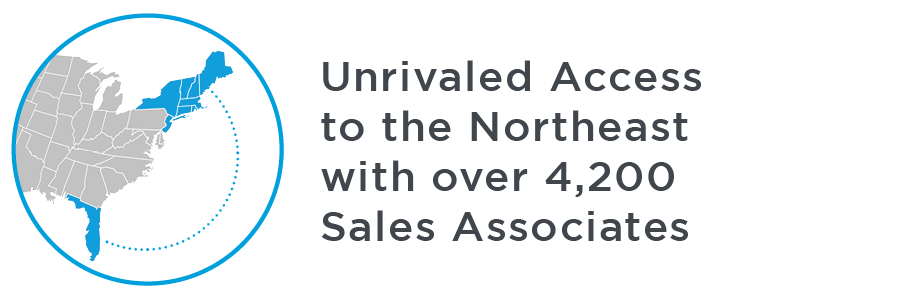 Unrivaled Access to the Northeast with over 4,200 Sales Associates